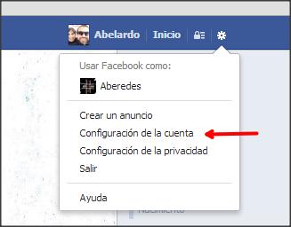 facebook desde menu