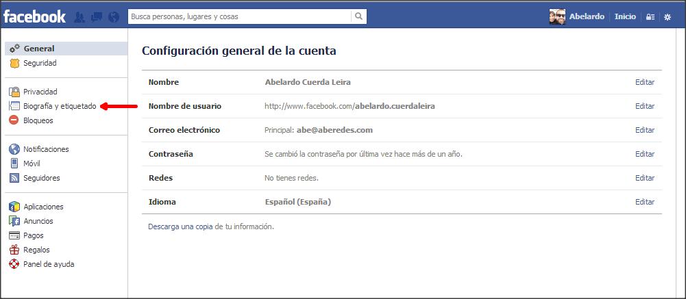 facebook configuracion general