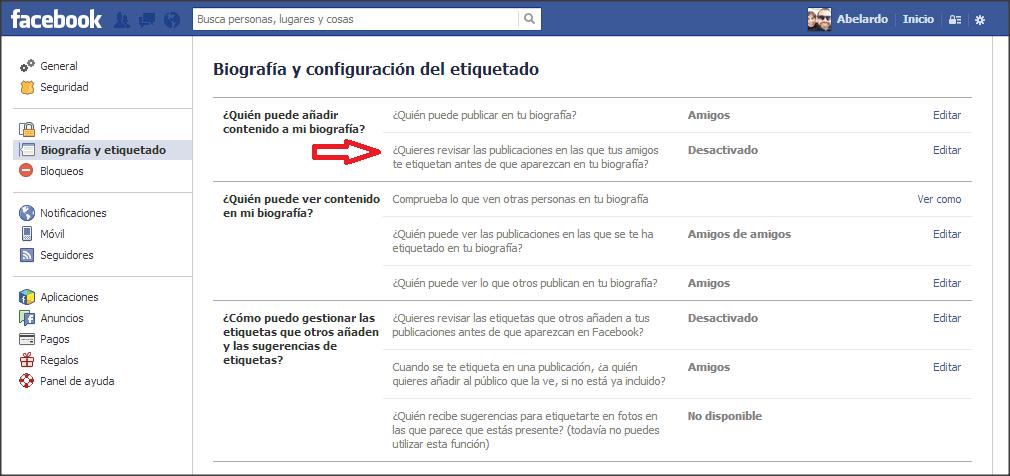 facebook biografia etiquetado