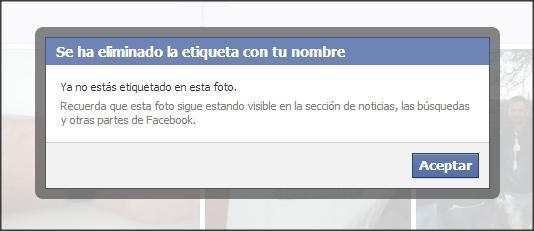 facebook etiqueta eliminada